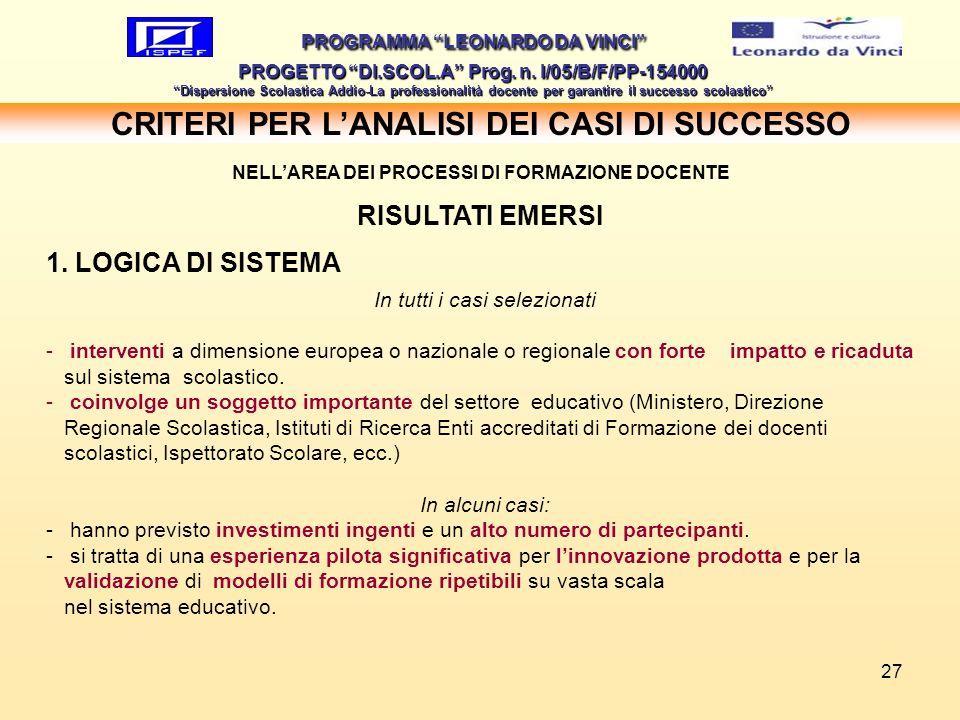 27 CRITERI PER LANALISI DEI CASI DI SUCCESSO PROGRAMMA LEONARDO DA VINCI PROGETTO DI.SCOL.A Prog. n. I/05/B/F/PP-154000 Dispersione Scolastica Addio-L