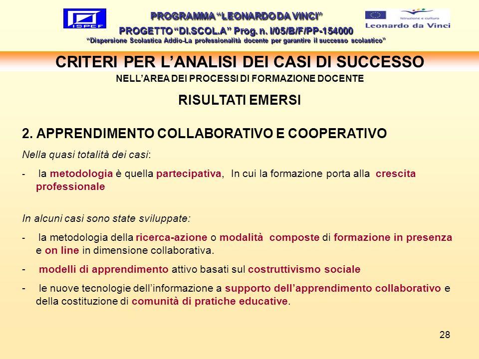 28 PROGRAMMA LEONARDO DA VINCI PROGETTO DI.SCOL.A Prog. n. I/05/B/F/PP-154000 Dispersione Scolastica Addio-La professionalità docente per garantire il
