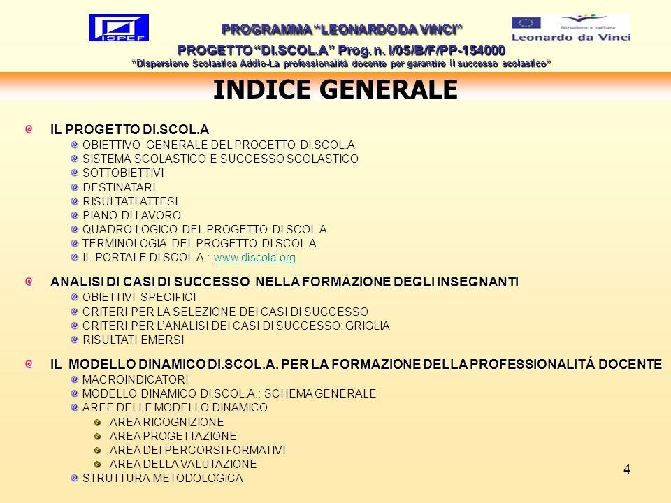 4 INDICE GENERALE PROGRAMMA LEONARDO DA VINCI PROGETTO DI.SCOL.A Prog. n. I/05/B/F/PP-154000 Dispersione Scolastica Addio-La professionalità docente p