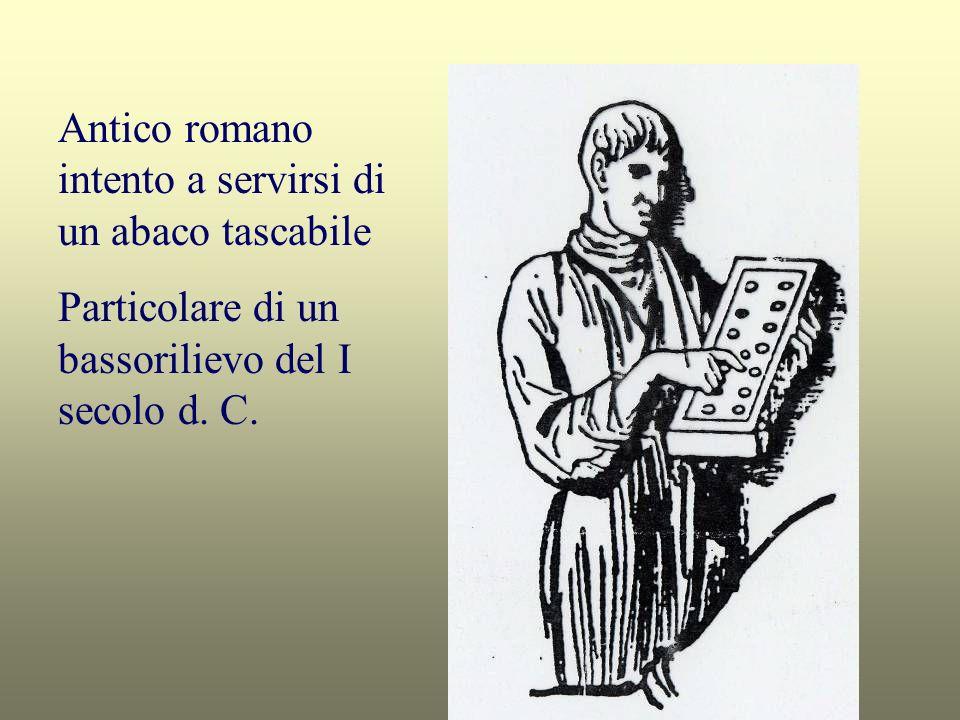 Antico romano intento a servirsi di un abaco tascabile Particolare di un bassorilievo del I secolo d. C.
