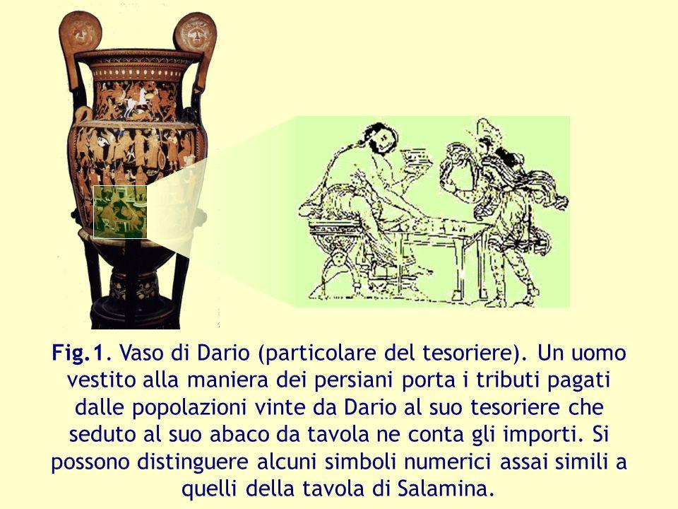 Fig.1. Vaso di Dario (particolare del tesoriere). Un uomo vestito alla maniera dei persiani porta i tributi pagati dalle popolazioni vinte da Dario al
