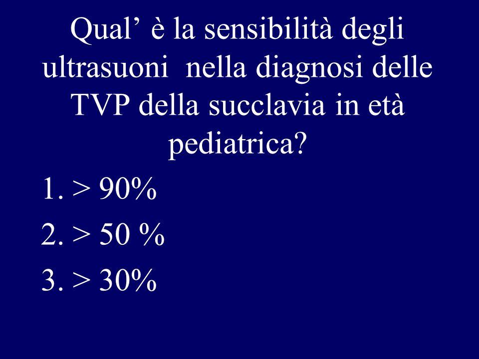 Qual è la sensibilità degli ultrasuoni nella diagnosi delle TVP della succlavia in età pediatrica? 1.> 90% 2.> 50 % 3.> 30%
