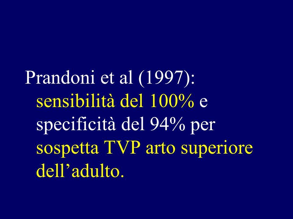 Prandoni et al (1997): sensibilità del 100% e specificità del 94% per sospetta TVP arto superiore delladulto.