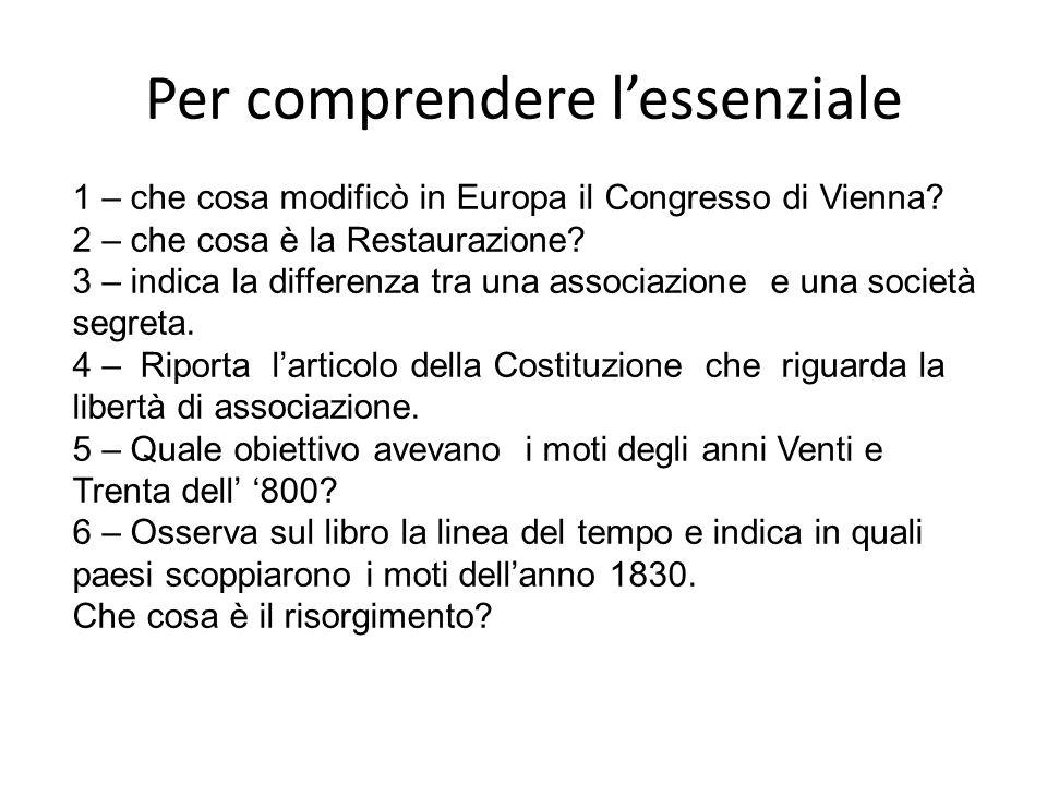 Per comprendere lessenziale 1 – che cosa modificò in Europa il Congresso di Vienna? 2 – che cosa è la Restaurazione? 3 – indica la differenza tra una