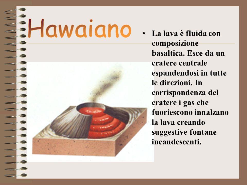 La lava è fluida con composizione basaltica. Esce da un cratere centrale espandendosi in tutte le direzioni. In corrispondenza del cratere i gas che f