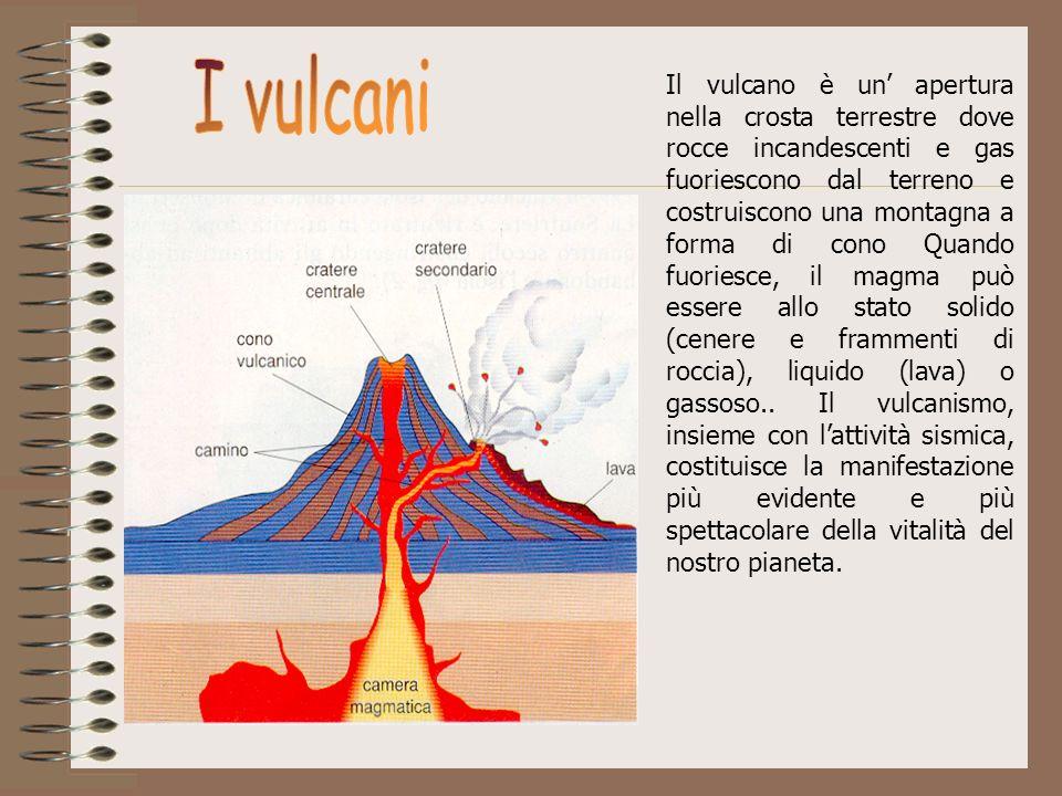 Il vulcano è un apertura nella crosta terrestre dove rocce incandescenti e gas fuoriescono dal terreno e costruiscono una montagna a forma di cono Qua