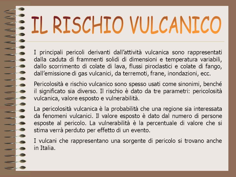 I principali pericoli derivanti dallattività vulcanica sono rappresentati dalla caduta di frammenti solidi di dimensioni e temperatura variabili, dall
