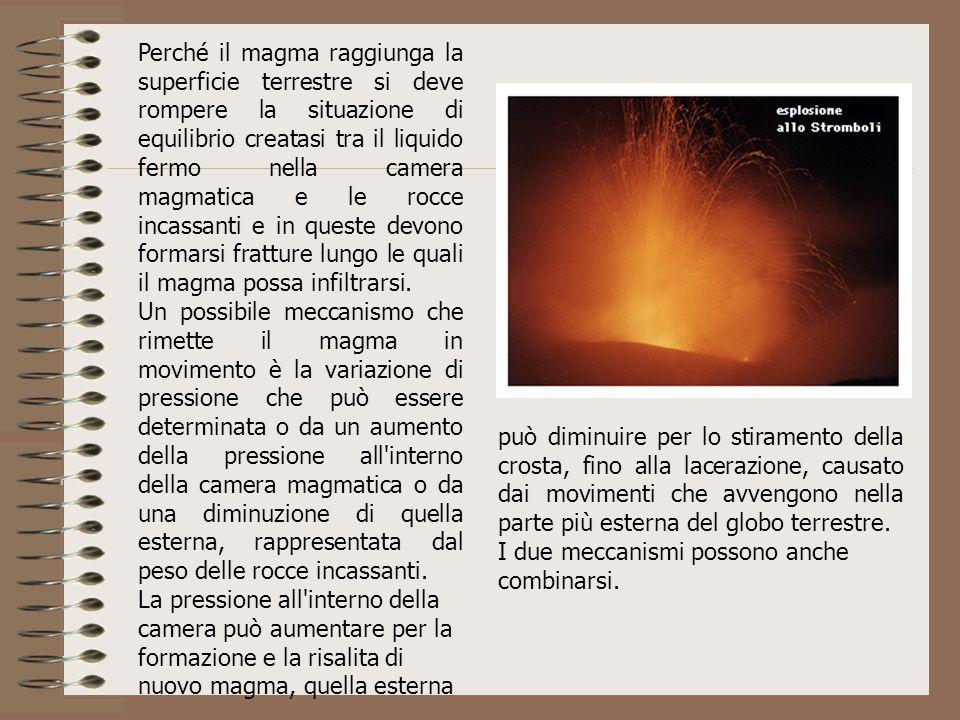 Perché il magma raggiunga la superficie terrestre si deve rompere la situazione di equilibrio creatasi tra il liquido fermo nella camera magmatica e l