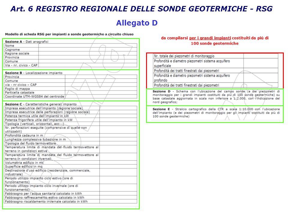 Art. 6 REGISTRO REGIONALE DELLE SONDE GEOTERMICHE - RSG da compilarsi per i grandi impianti costituiti da più di 100 sonde geotermiche Allegato D