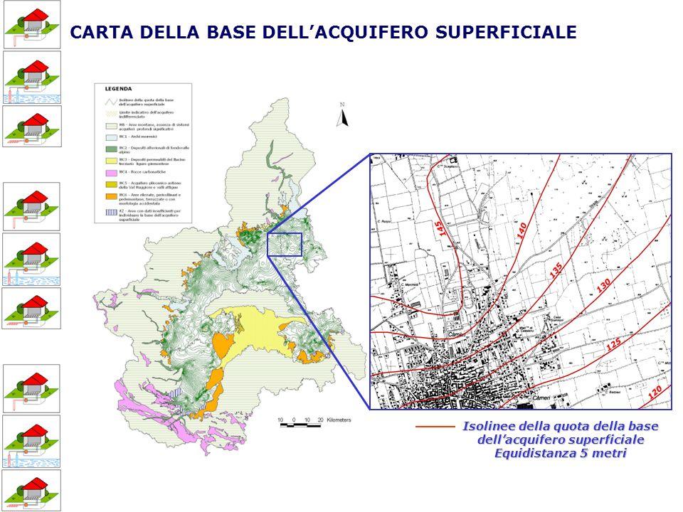 CARTA DELLA BASE DELLACQUIFERO SUPERFICIALE Isolinee della quota della base dellacquifero superficiale Equidistanza 5 metri