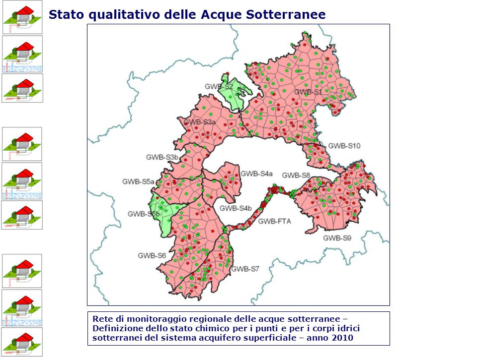 Rete di monitoraggio regionale delle acque sotterranee – Definizione dello stato chimico per i punti e per i corpi idrici sotterranei del sistema acquifero superficiale – anno 2010 Stato qualitativo delle Acque Sotterranee