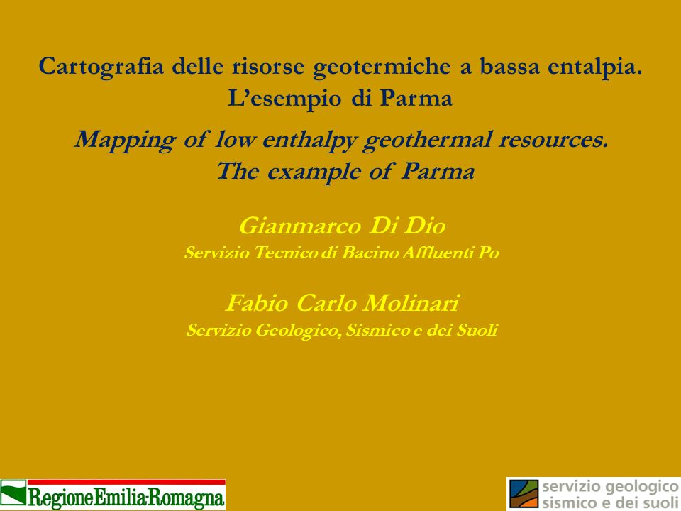 Cartografia delle risorse geotermiche a bassa entalpia. Lesempio di Parma Mapping of low enthalpy geothermal resources. The example of Parma Gianmarco
