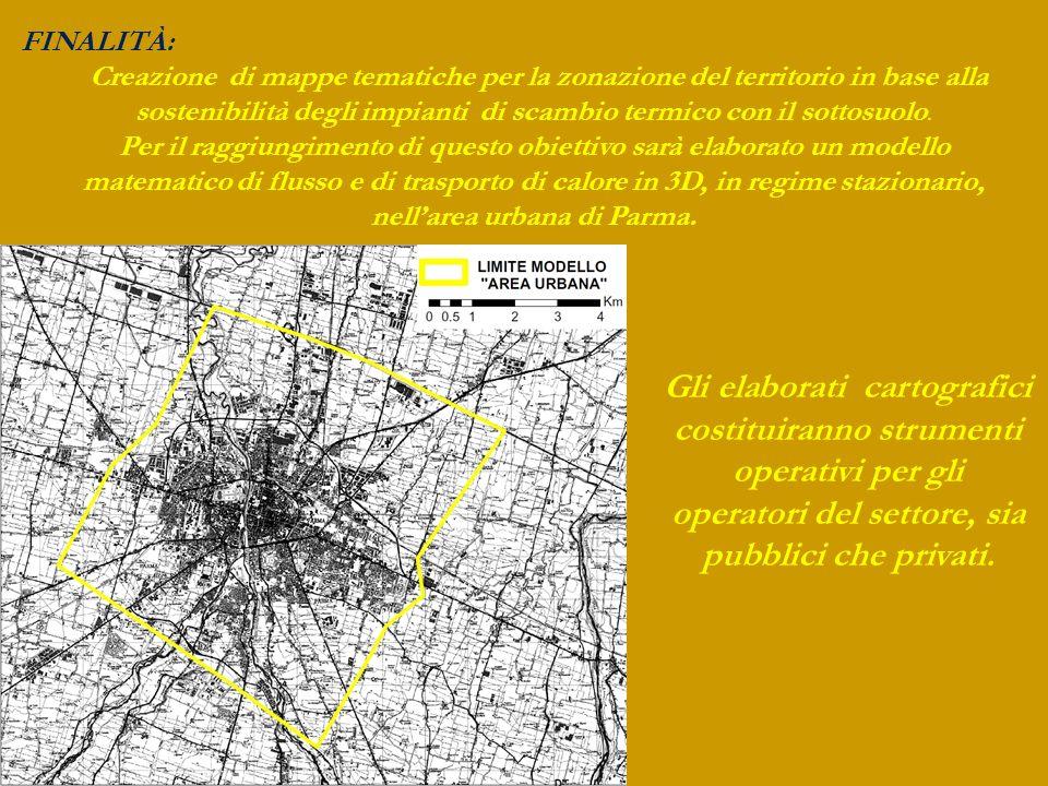 FINALITÀ: Creazione di mappe tematiche per la zonazione del territorio in base alla sostenibilità degli impianti di scambio termico con il sottosuolo.