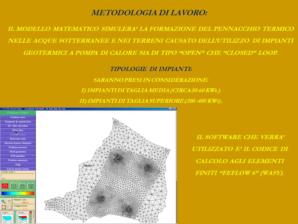 METODOLOGIA DI LAVORO: SU OGNI SINGOLO COMPLESSO ACQUIFERO VERRANNO SIMULATE DIVERSE CONDIZIONI DI ESERCIZIO, SIA DI IMPIANTI OPEN CHE CLOSED LOOP.