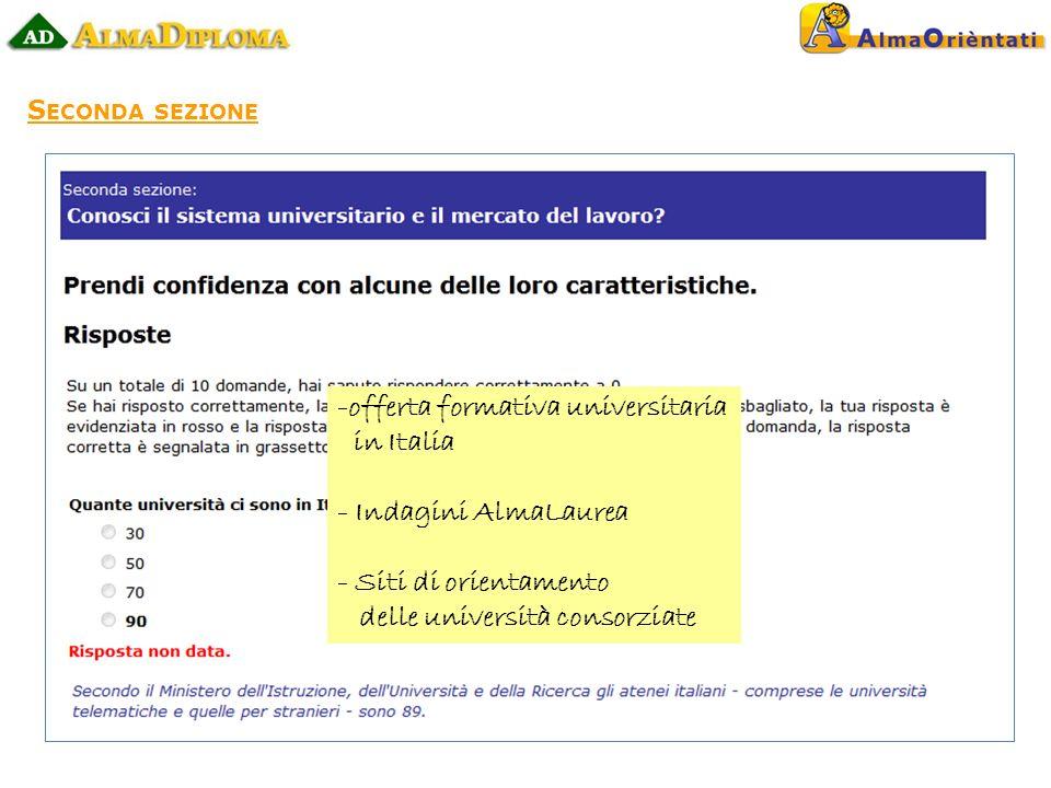 S ECONDA SEZIONE -offerta formativa universitaria in Italia - Indagini AlmaLaurea - Siti di orientamento delle università consorziate
