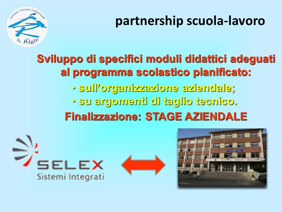 Sviluppo di specifici moduli didattici adeguati al programma scolastico pianificato: partnership scuola-lavoro sullorganizzazione aziendale; sullorgan