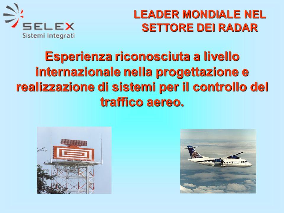 Esperienza riconosciuta a livello internazionale nella progettazione e realizzazione di sistemi per il controllo del traffico aereo. LEADER MONDIALE N