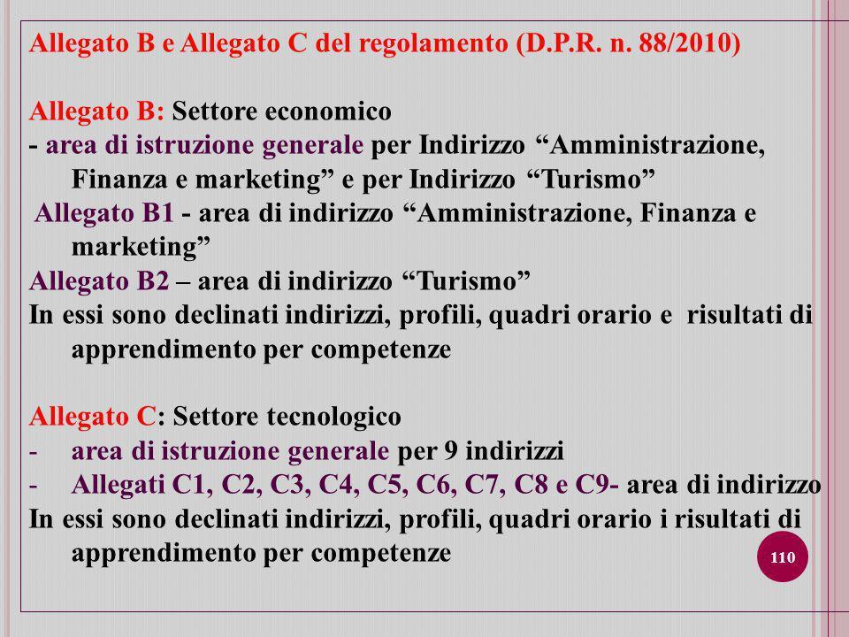 110 Allegato B e Allegato C del regolamento (D.P.R.