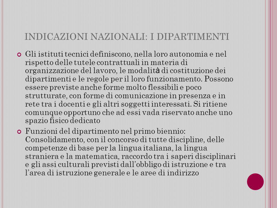 INDICAZIONI NAZIONALI: I DIPARTIMENTI Gli istituti tecnici definiscono, nella loro autonomia e nel rispetto delle tutele contrattuali in materia di organizzazione del lavoro, le modalit à di costituzione dei dipartimenti e le regole per il loro funzionamento.