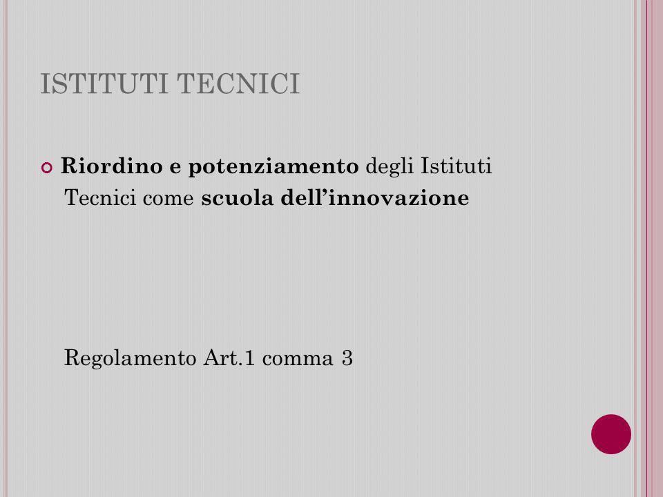 ISTITUTI TECNICI Riordino e potenziamento degli Istituti Tecnici come scuola dellinnovazione Regolamento Art.1 comma 3