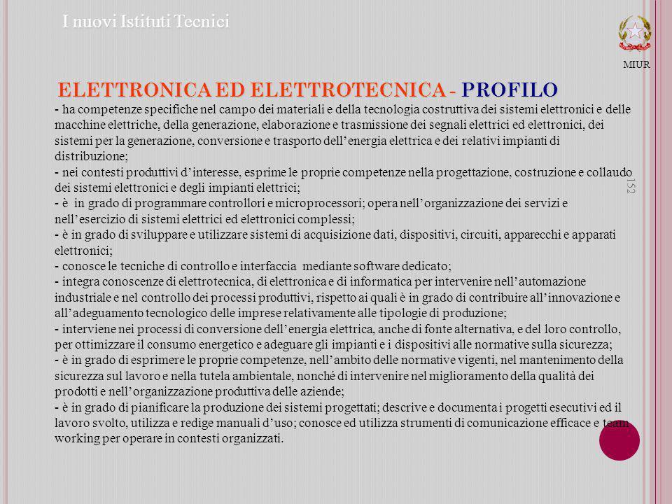 152 ELETTRONICA ED ELETTROTECNICA - PROFILO MIUR I nuovi Istituti Tecnici - ha competenze specifiche nel campo dei materiali e della tecnologia costruttiva dei sistemi elettronici e delle macchine elettriche, della generazione, elaborazione e trasmissione dei segnali elettrici ed elettronici, dei sistemi per la generazione, conversione e trasporto dellenergia elettrica e dei relativi impianti di distribuzione; - nei contesti produttivi dinteresse, esprime le proprie competenze nella progettazione, costruzione e collaudo dei sistemi elettronici e degli impianti elettrici; - è in grado di programmare controllori e microprocessori; opera nellorganizzazione dei servizi e nellesercizio di sistemi elettrici ed elettronici complessi; - è in grado di sviluppare e utilizzare sistemi di acquisizione dati, dispositivi, circuiti, apparecchi e apparati elettronici; - conosce le tecniche di controllo e interfaccia mediante software dedicato; - integra conoscenze di elettrotecnica, di elettronica e di informatica per intervenire nellautomazione industriale e nel controllo dei processi produttivi, rispetto ai quali è in grado di contribuire allinnovazione e alladeguamento tecnologico delle imprese relativamente alle tipologie di produzione; - interviene nei processi di conversione dellenergia elettrica, anche di fonte alternativa, e del loro controllo, per ottimizzare il consumo energetico e adeguare gli impianti e i dispositivi alle normative sulla sicurezza; - è in grado di esprimere le proprie competenze, nellambito delle normative vigenti, nel mantenimento della sicurezza sul lavoro e nella tutela ambientale, nonché di intervenire nel miglioramento della qualità dei prodotti e nellorganizzazione produttiva delle aziende; - è in grado di pianificare la produzione dei sistemi progettati; descrive e documenta i progetti esecutivi ed il lavoro svolto, utilizza e redige manuali duso; conosce ed utilizza strumenti di comunicazione efficace e team working per operare in contesti organ