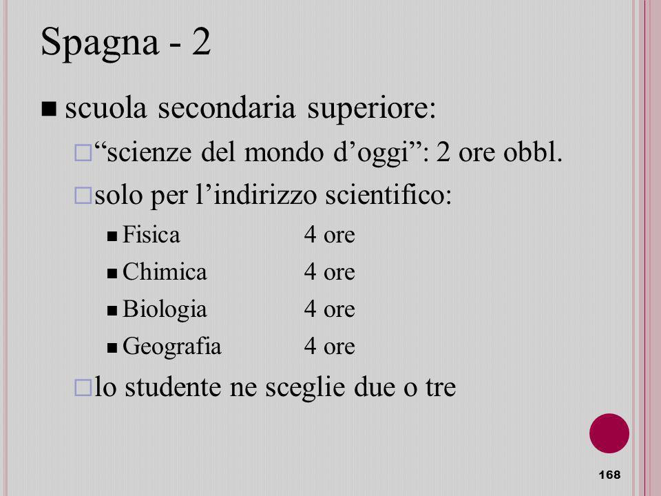 168 Spagna - 2 scuola secondaria superiore: scienze del mondo doggi:2 ore obbl.