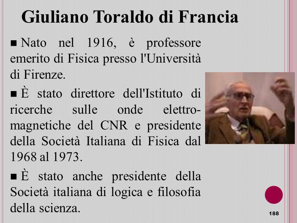 Giuliano Toraldo di Francia Nato nel 1916, è professore emerito di Fisica presso l Università di Firenze.