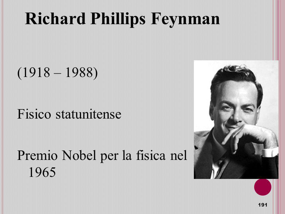 Richard Phillips Feynman (1918 – 1988) Fisico statunitense Premio Nobel per la fisica nel 1965 191