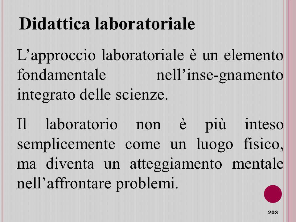Didattica laboratoriale 203 Lapproccio laboratoriale è un elemento fondamentale nellinse-gnamento integrato delle scienze.