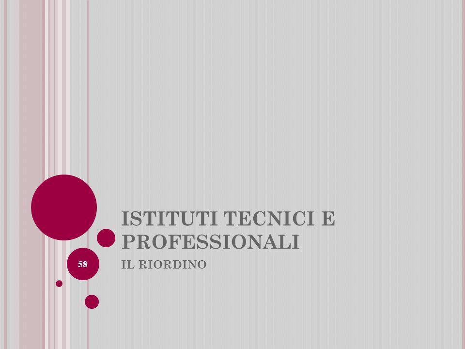 ISTITUTI TECNICI E PROFESSIONALI IL RIORDINO 58