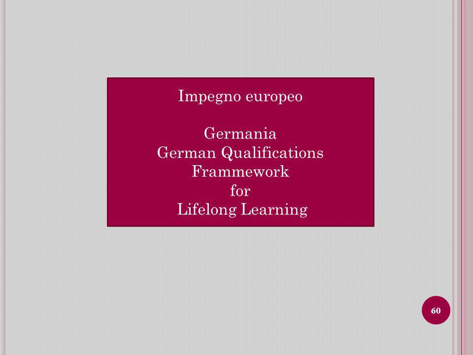 Impegno europeo Germania German Qualifications Frammework for Lifelong Learning 60