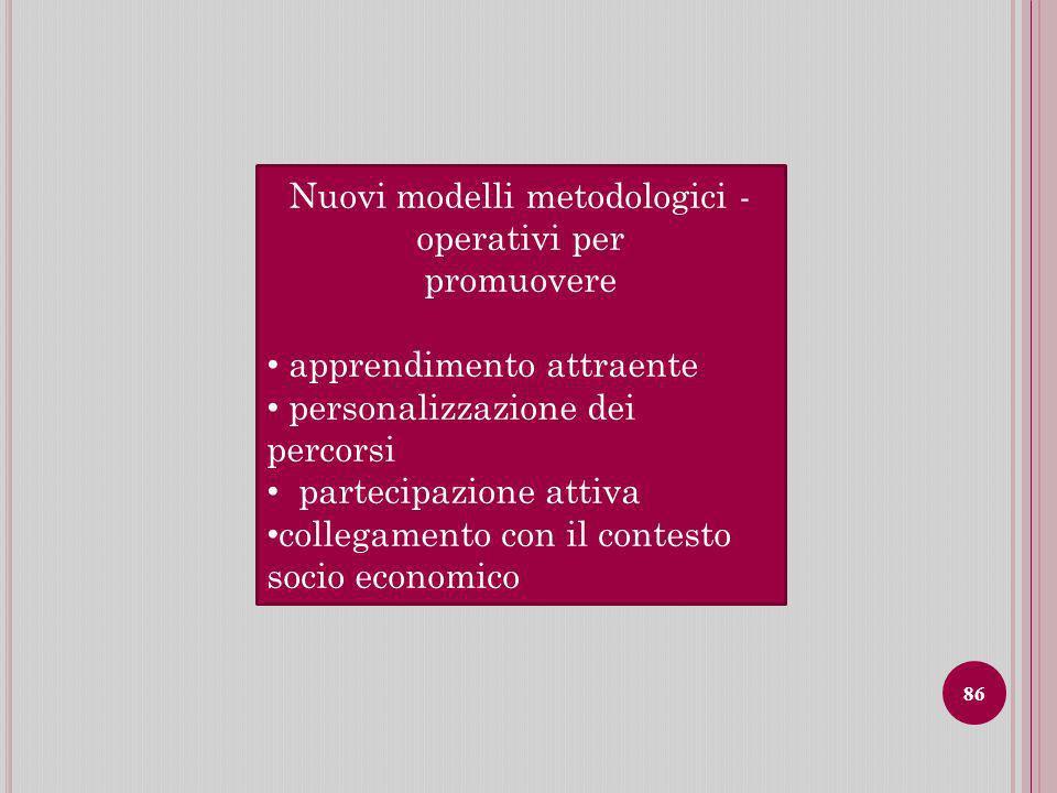Nuovi modelli metodologici - operativi per promuovere apprendimento attraente personalizzazione dei percorsi partecipazione attiva collegamento con il contesto socio economico 86