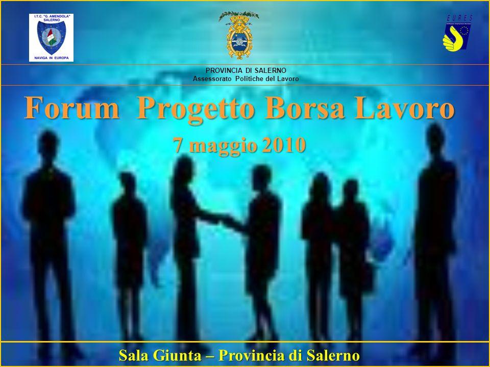 PROVINCIA DI SALERNO Assessorato Politiche del Lavoro Forum Progetto Borsa Lavoro 7 maggio 2010 Sala Giunta – Provincia di Salerno