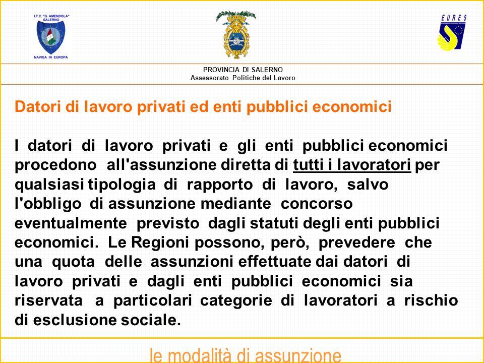 PROVINCIA DI SALERNO Assessorato Politiche del Lavoro A cura della dott.ssa Immacolata Carillo (Consulente EURES – UPSI)