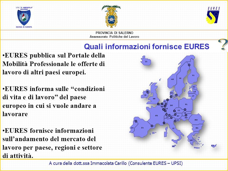 PROVINCIA DI SALERNO Assessorato Politiche del Lavoro LA RETE EURES OBIETTIVI Informare, consigliare e aiutare i candidati alla mobilità europea Soste