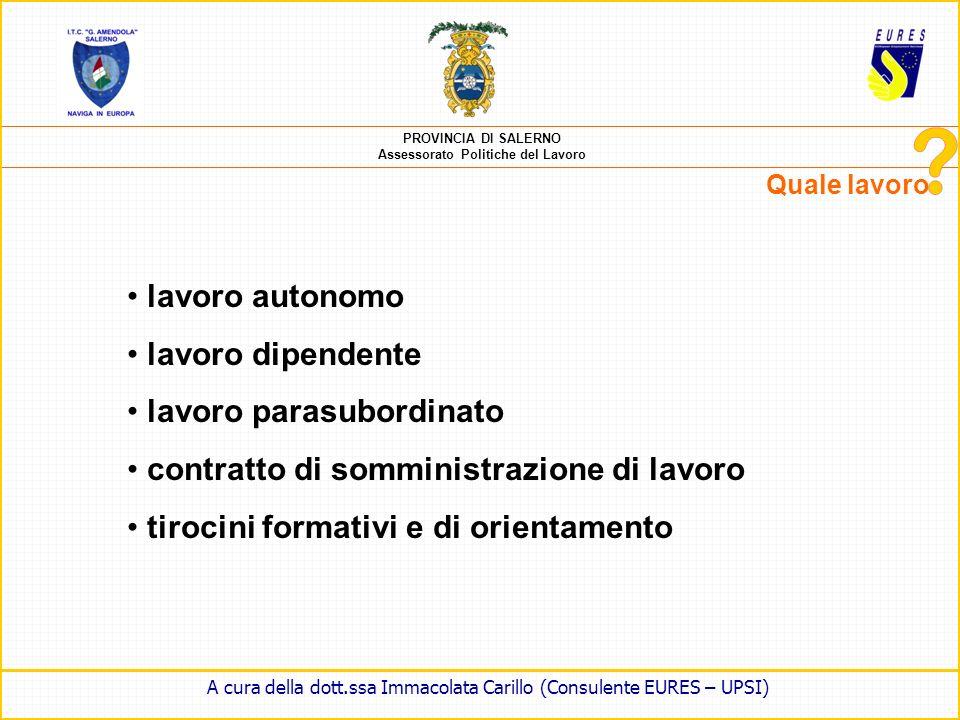 PROVINCIA DI SALERNO Assessorato Politiche del Lavoro Quale lavoro A cura della dott.ssa Immacolata Carillo (Consulente EURES – UPSI)