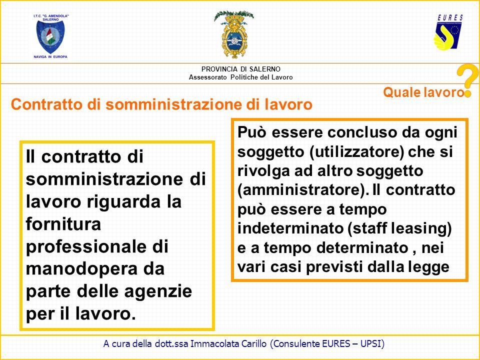 PROVINCIA DI SALERNO Assessorato Politiche del Lavoro partecipazione a concorsi pubblici IN OUT A cura della dott.ssa Immacolata Carillo (Consulente EURES – UPSI)