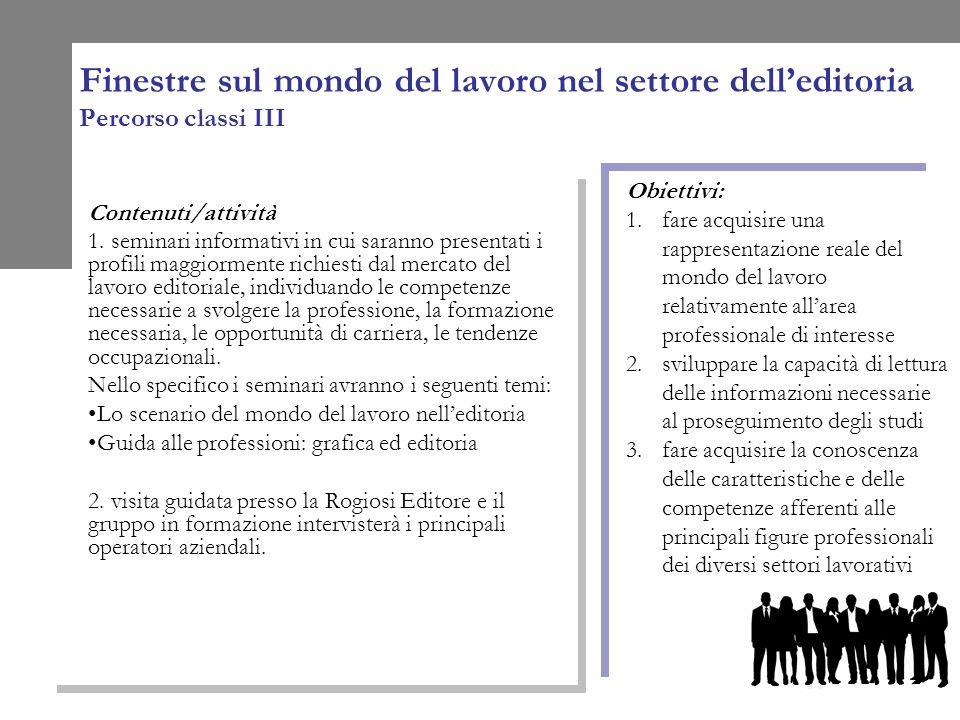 Finestre sul mondo del lavoro nel settore delleditoria Percorso classi III Contenuti/attività 1.