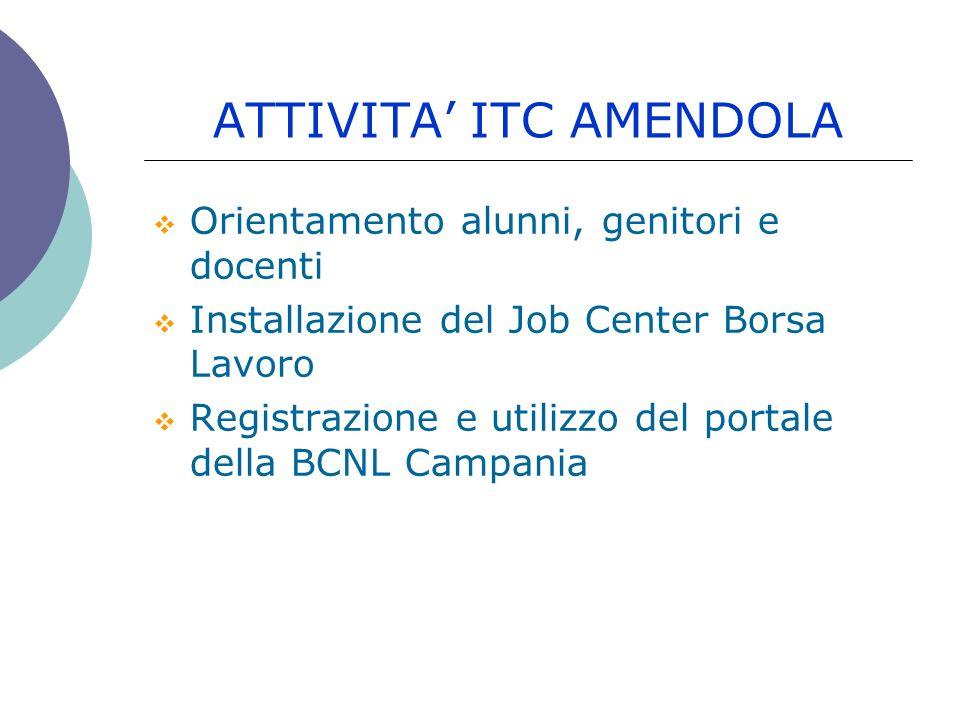 ATTIVITA ITC AMENDOLA Orientamento alunni, genitori e docenti Installazione del Job Center Borsa Lavoro Registrazione e utilizzo del portale della BCN