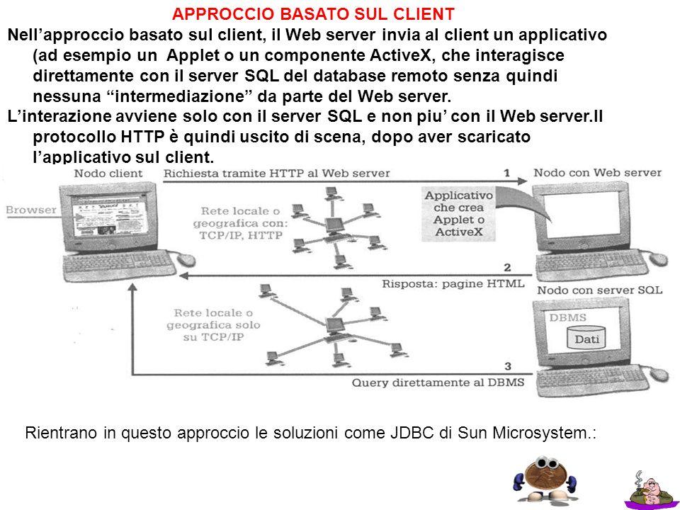 APPROCCIO BASATO SUL CLIENT Nellapproccio basato sul client, il Web server invia al client un applicativo (ad esempio un Applet o un componente Active