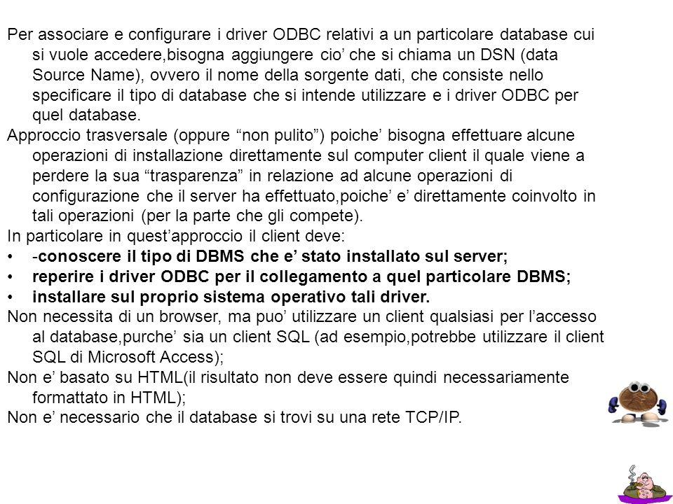 Per associare e configurare i driver ODBC relativi a un particolare database cui si vuole accedere,bisogna aggiungere cio che si chiama un DSN (data S