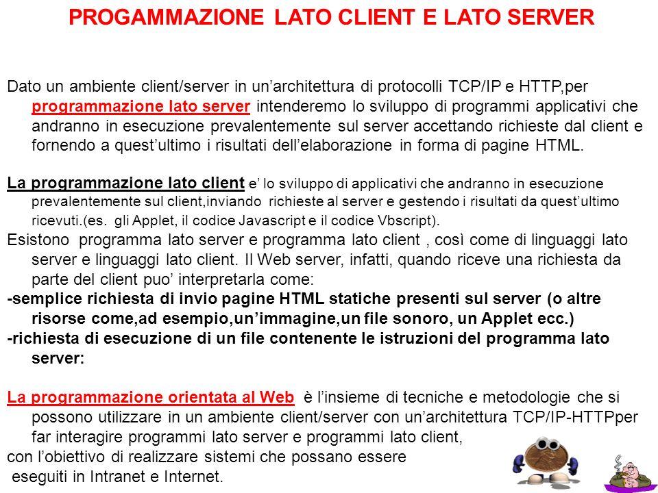 PROGAMMAZIONE LATO CLIENT E LATO SERVER Dato un ambiente client/server in unarchitettura di protocolli TCP/IP e HTTP,per programmazione lato server in