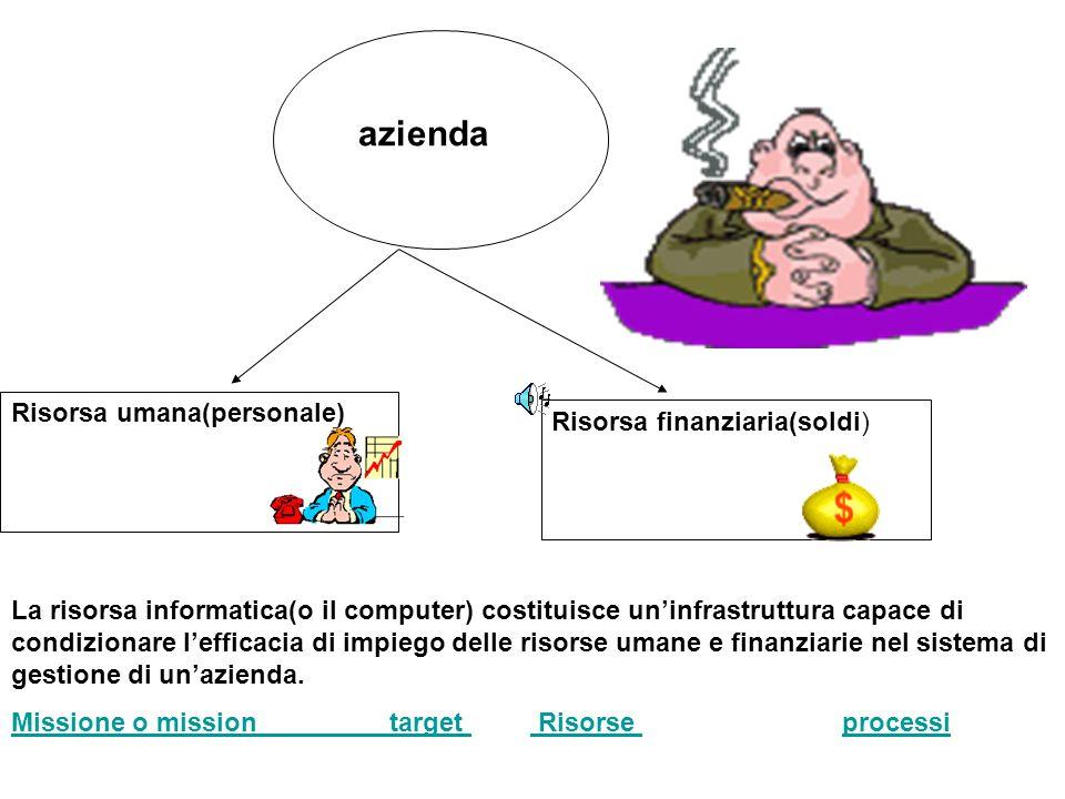 La risorsa informatica(o il computer) costituisce uninfrastruttura capace di condizionare lefficacia di impiego delle risorse umane e finanziarie nel