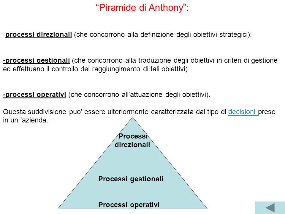 Piramide di Anthony: -processi direzionali (che concorrono alla definizione degli obiettivi strategici); -processi gestionali (che concorrono alla tra