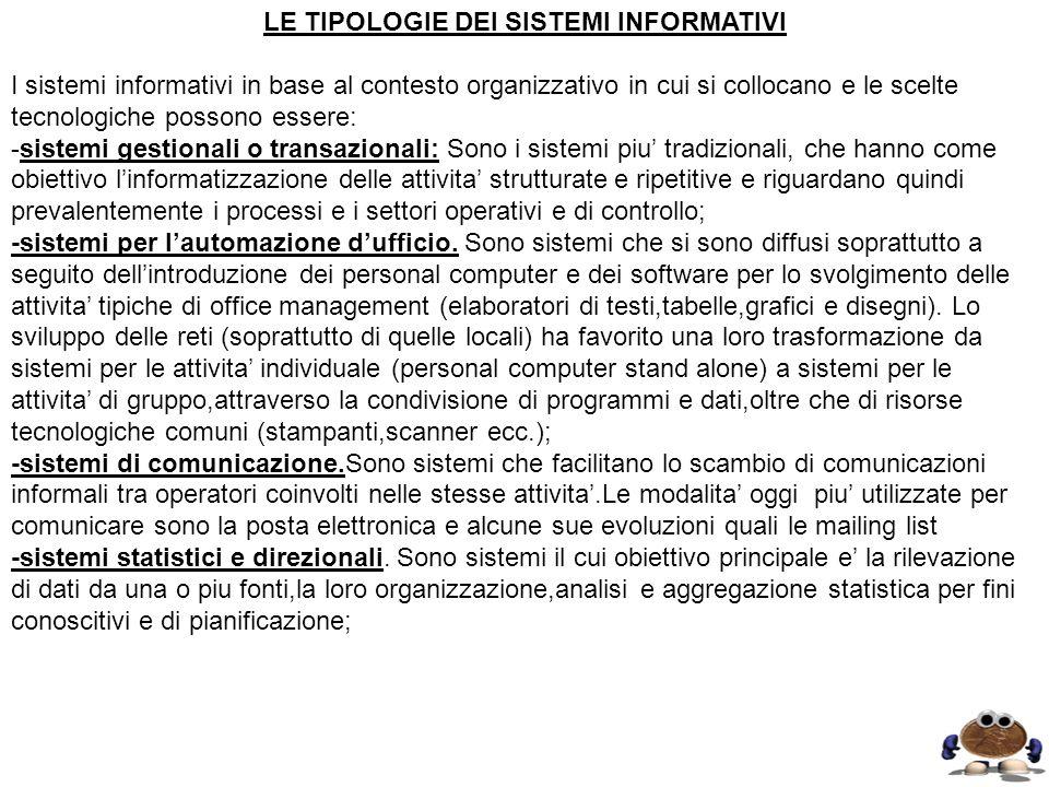 LE TIPOLOGIE DEI SISTEMI INFORMATIVI I sistemi informativi in base al contesto organizzativo in cui si collocano e le scelte tecnologiche possono esse