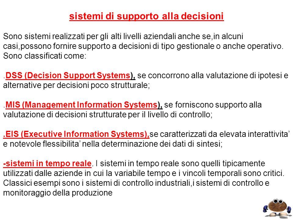 sistemi di supporto alla decisioni Sono sistemi realizzati per gli alti livelli aziendali anche se,in alcuni casi,possono fornire supporto a decisioni