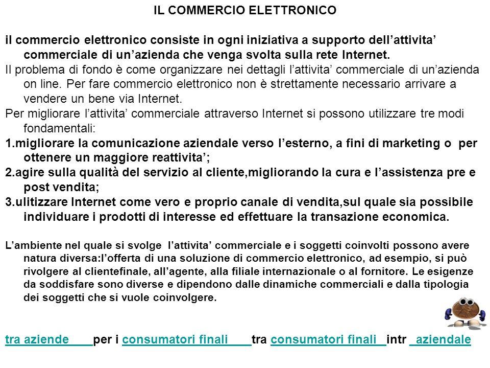 IL COMMERCIO ELETTRONICO il commercio elettronico consiste in ogni iniziativa a supporto dellattivita commerciale di unazienda che venga svolta sulla
