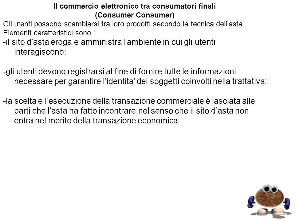 Il commercio elettronico tra consumatori finali (Consumer Consumer) Gli utenti possono scambiarsi tra loro prodotti secondo la tecnica dellasta. Eleme