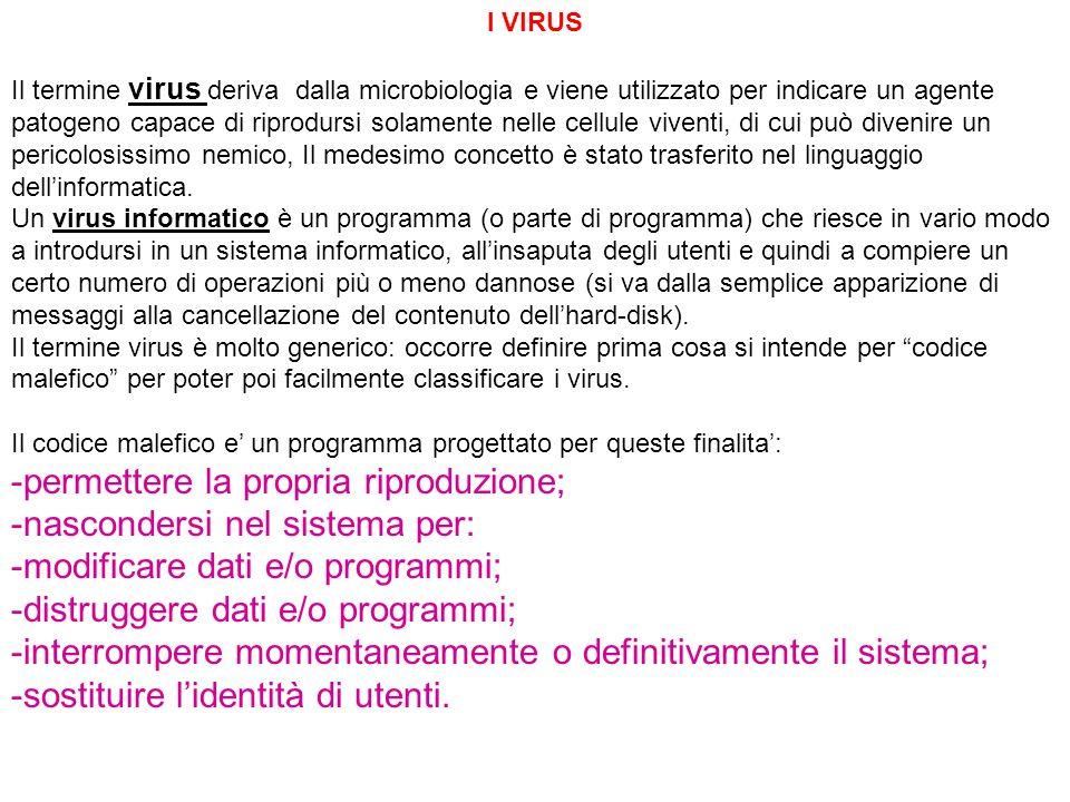 I VIRUS Il termine virus deriva dalla microbiologia e viene utilizzato per indicare un agente patogeno capace di riprodursi solamente nelle cellule vi