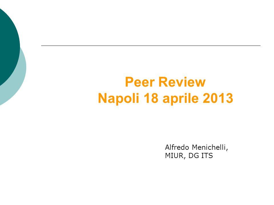 Peer Review Napoli 18 aprile 2013 Alfredo Menichelli, MIUR, DG ITS